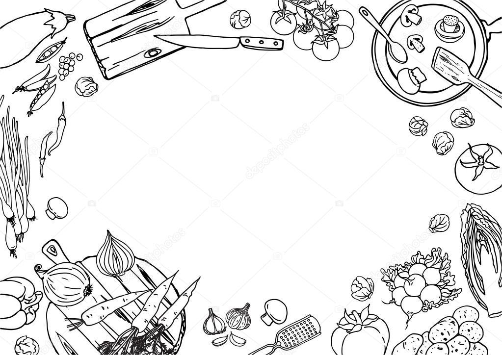 Kitchen Black And White Sketch