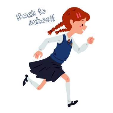 Runing school-girl dressed in uniforms isolated on white background