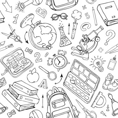 Vector seamless pattern of doodle school supplies. Sketchy background