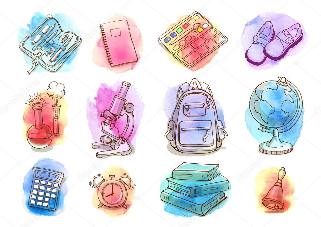 Fondo Utiles Escolares Vector: Incompletos De Vector Set De útiles Escolares En Gotas De