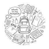 Doodle skica vzdělání objekty v kulatý tvar isoladed na bílém pozadí