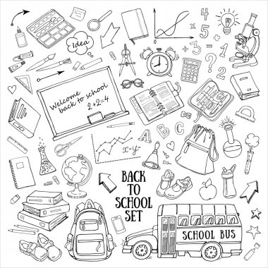 Back to school hand-drawn doodles set with supplies, schoolbus, backpack, chalkboard, globe