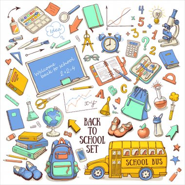 Back to school color sketchy set with supplies, schoolbus, backpack, chalkboard, globe