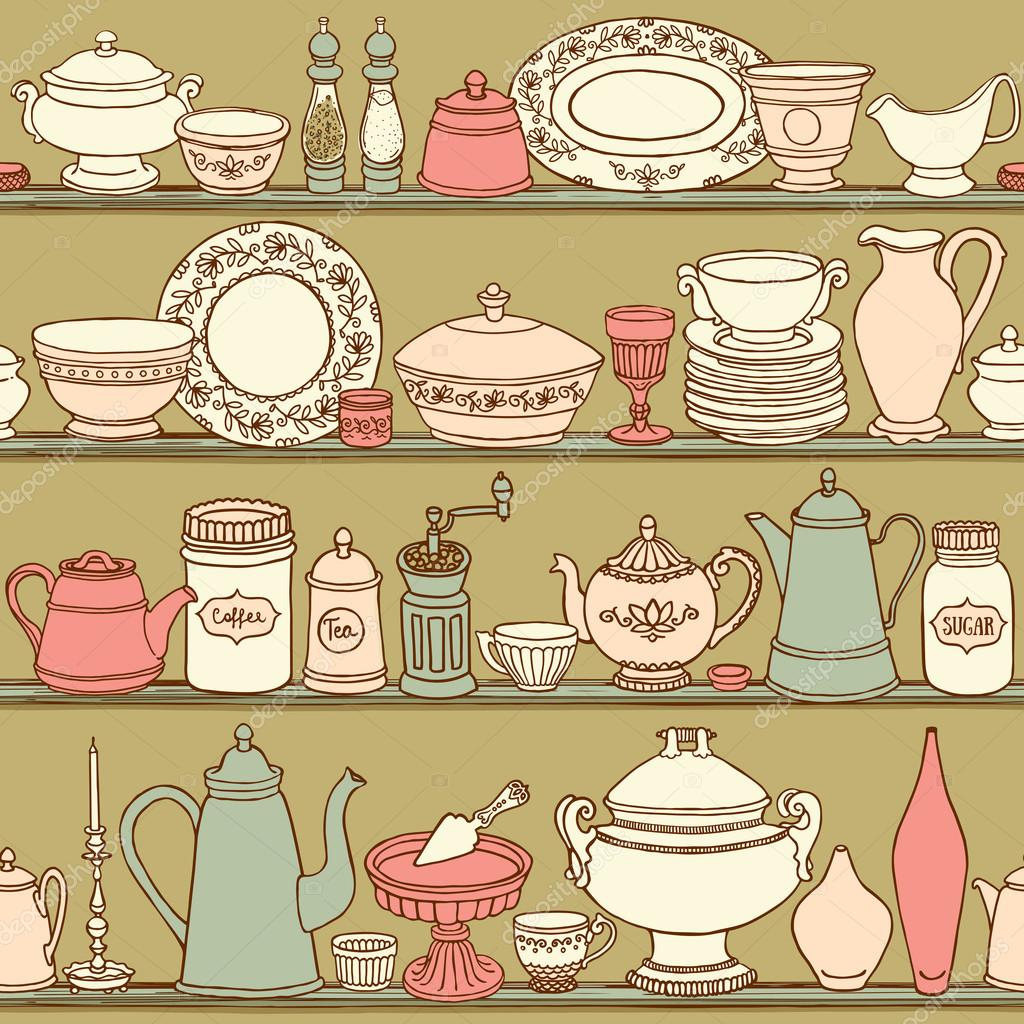 Shabby Chic Kitchen Vector Seamless Pattern With Cooking Items Hand Drawn Background Of Dishes On