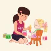 Fényképek rajzfilm lány játszó baba