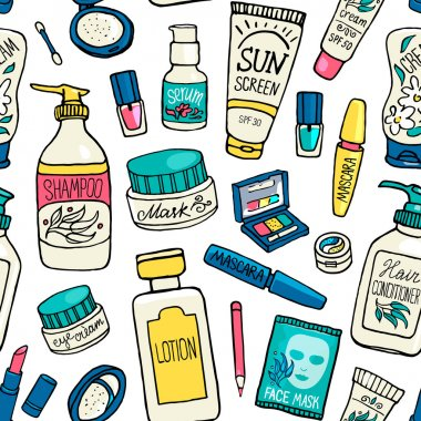 make up and cosmetics icons pattern