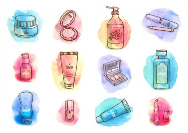 Hand drawn watercolor set with make-up objects - shampoo, cream, lipstick, mascara nail-polish, perfume, lotion, eyeshadow. Doodle cosmetics background for beauty shop. stock vector