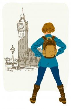 Girl travels in London