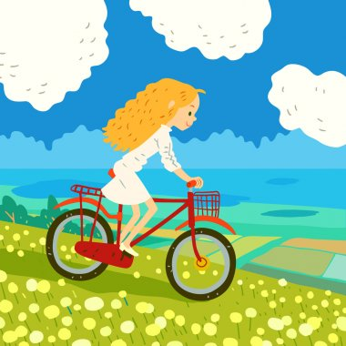 cartoon girl riding bicycle