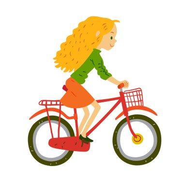 cartoon girl riding bicycle