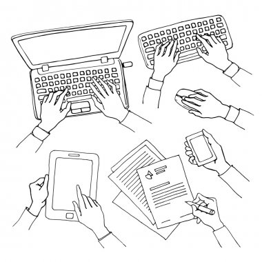 set of hands with computer devices