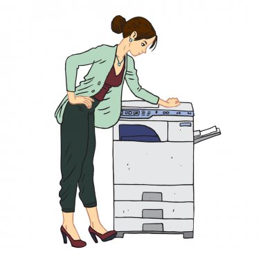 business woman with copy machine