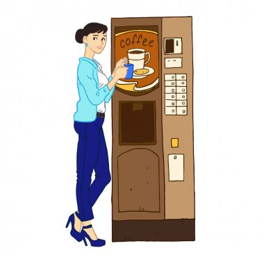 woman at vending coffee machine