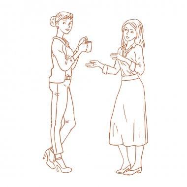 two office girls talking