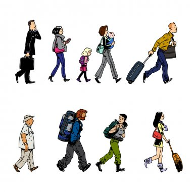 cartoon icons of passenger in airport
