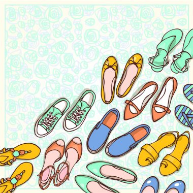 female shoes collection background