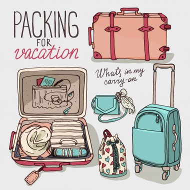 set of bags packing for vacation