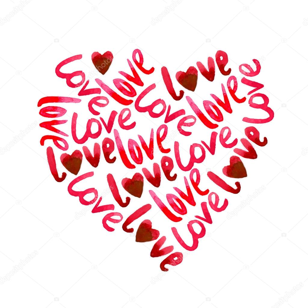 Valentines day hearts composition. red watercolor. hearts and lettering Love clipart vector