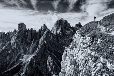 Black and white landscape of Dolomits