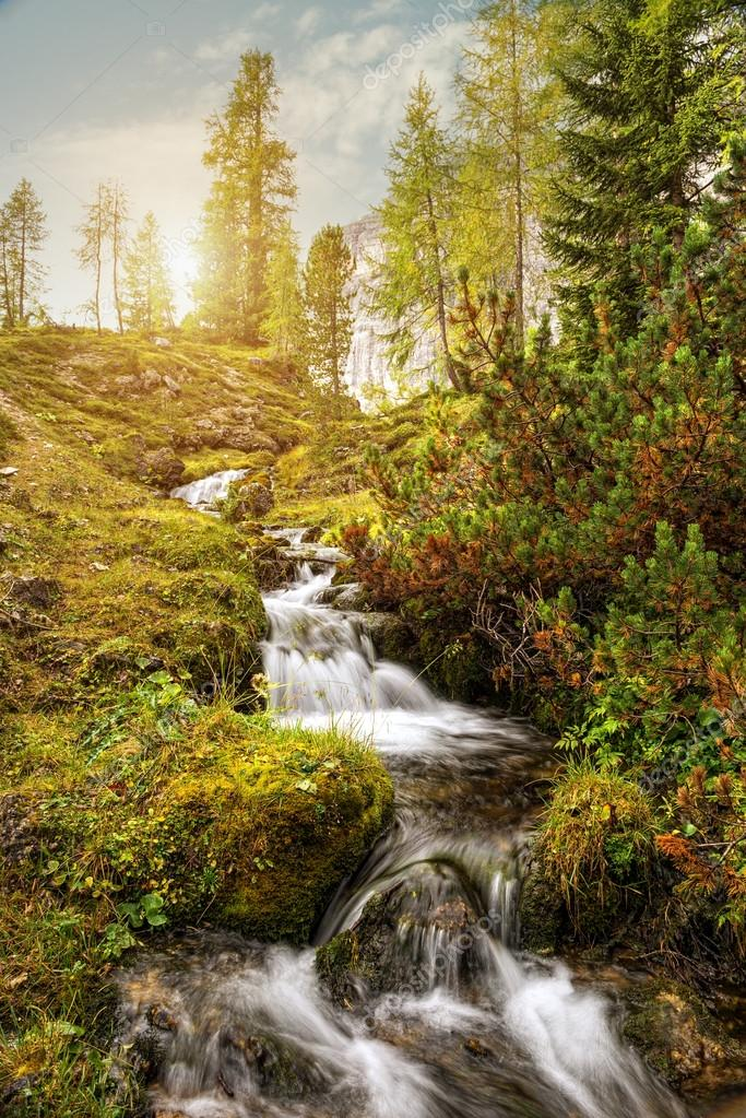 Mountain stream in Dolomites