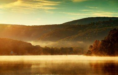 lake in the morning fog