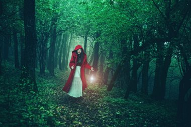 Red Riding Hood in woods