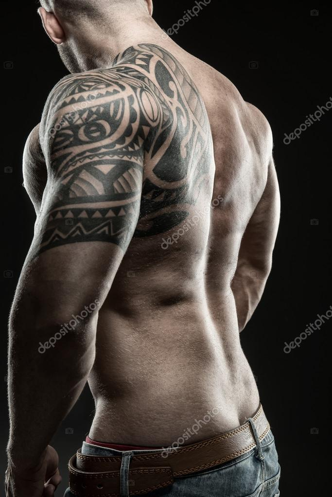 muscular man from the back stock photo geribody 74391127