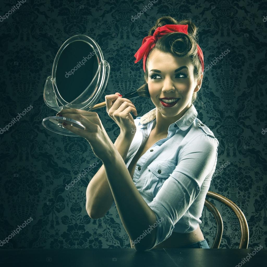 woman holding mirror. Perfect Woman Woman Holding Mirror And Makeup Brush U2014 Stock Photo With Holding Mirror S