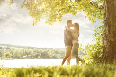 Couple in love on lake