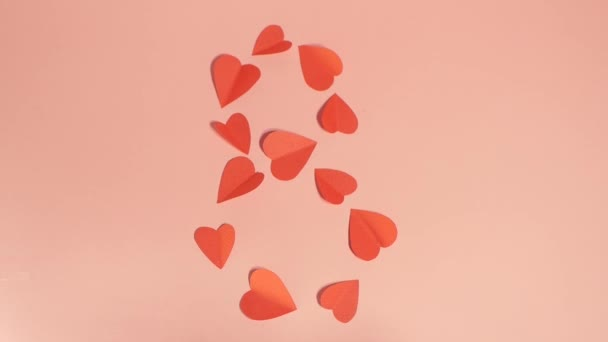8 march greeting video. Number made of hearts. International women day