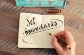 Handwritten text Set Boundaries as success and evolution concept image