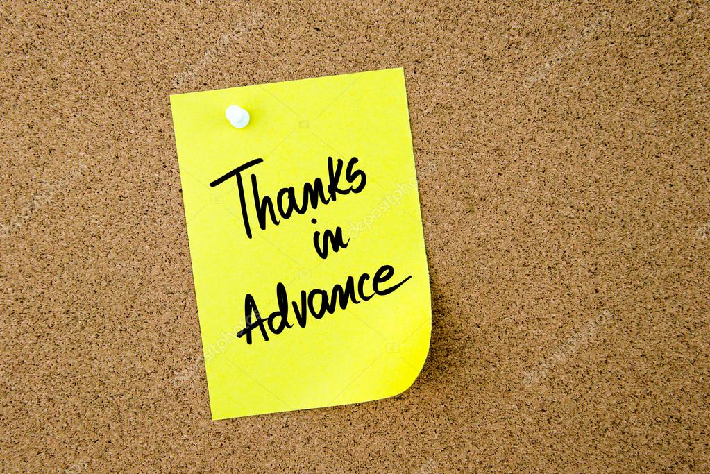 1fd91cc29c8 Thanks In Advance written on yellow paper note — Stock Photo ...