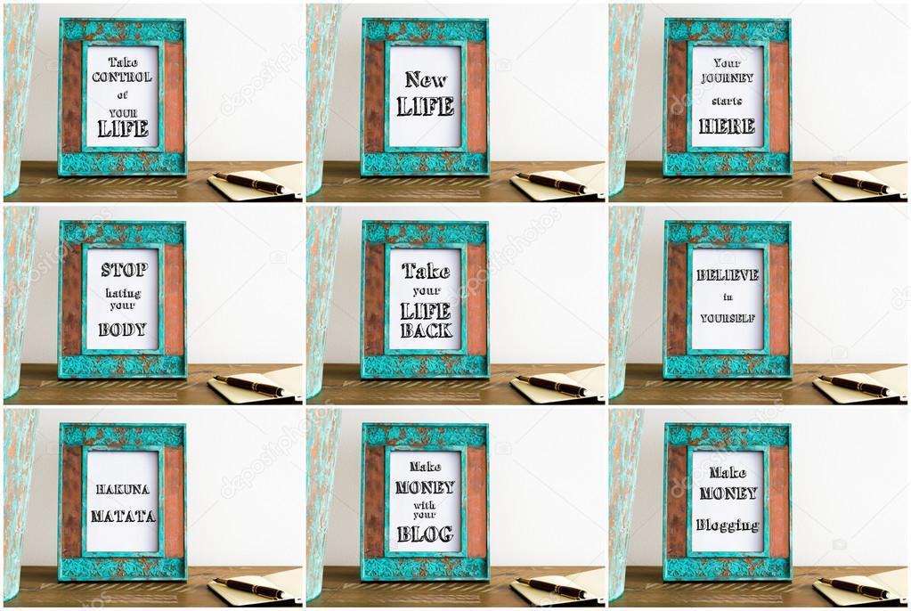Collage Bilderrahmen mit verschiedenen motivierende Texte ...