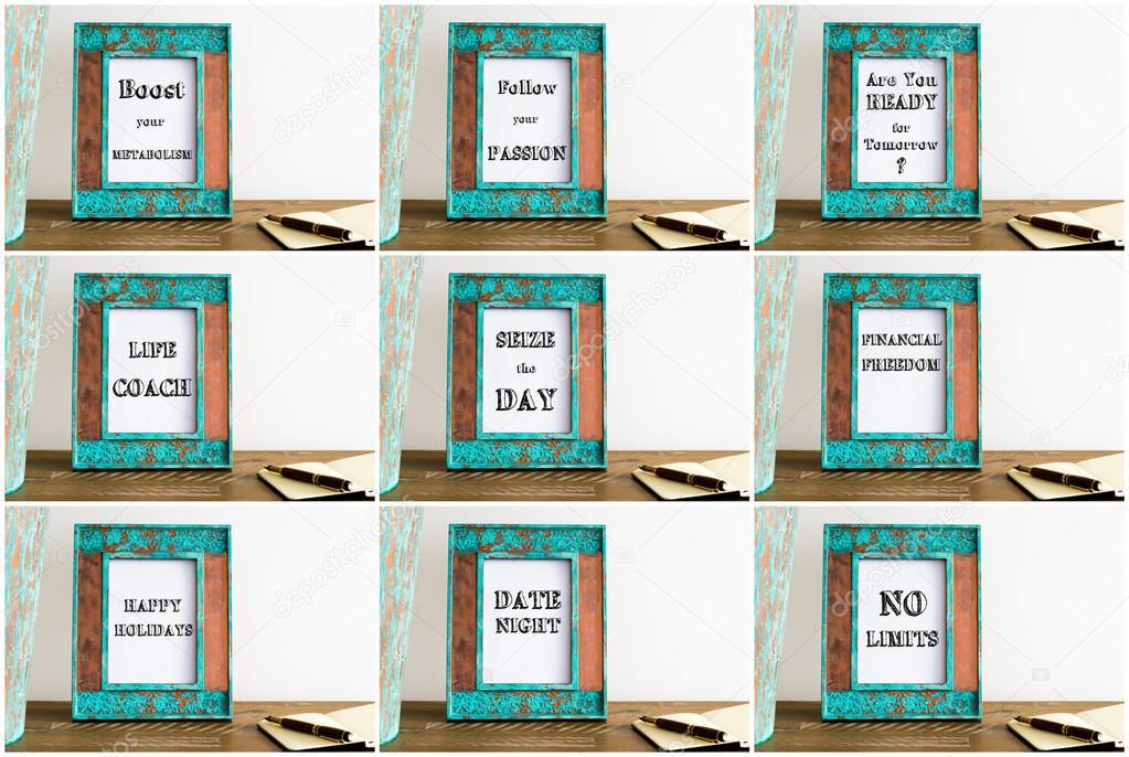 Collage de marcos de fotos con varios textos motivacionales — Foto ...