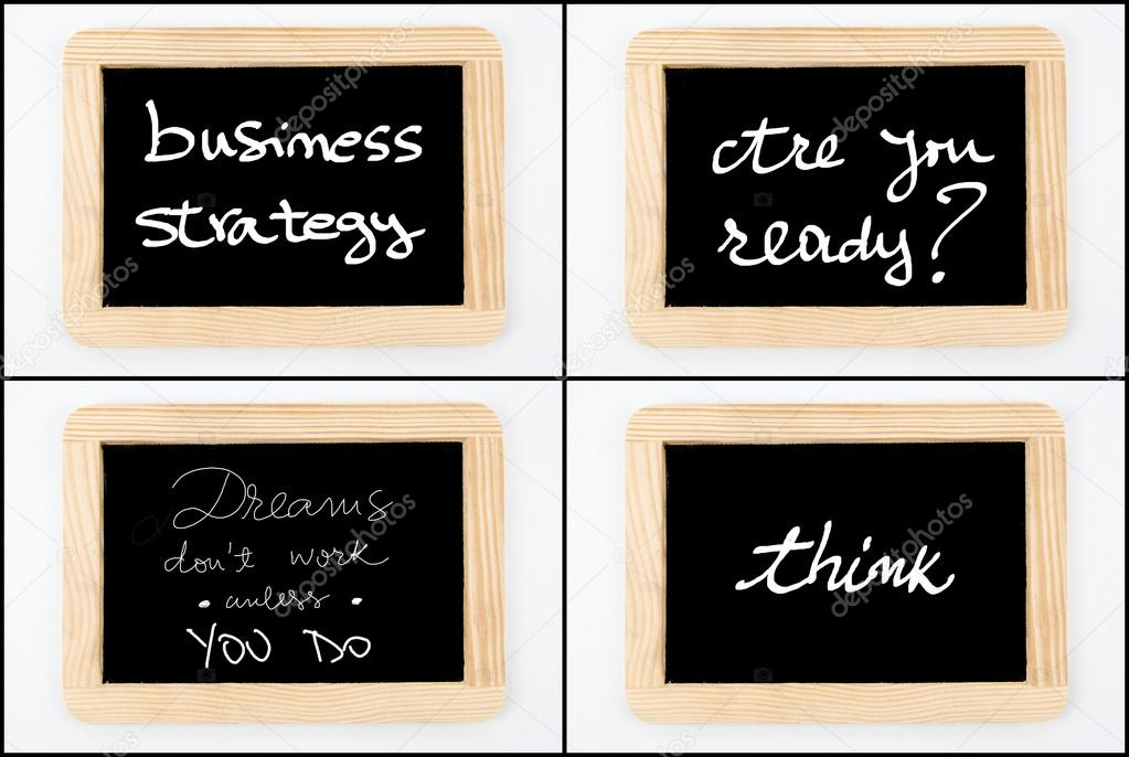 Photo collage of Wooden vintage chalkboard frames isolated on white ...
