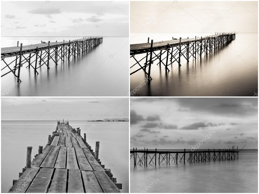 Photo Collage With Black And White Photography Of Beach Wooden Pier