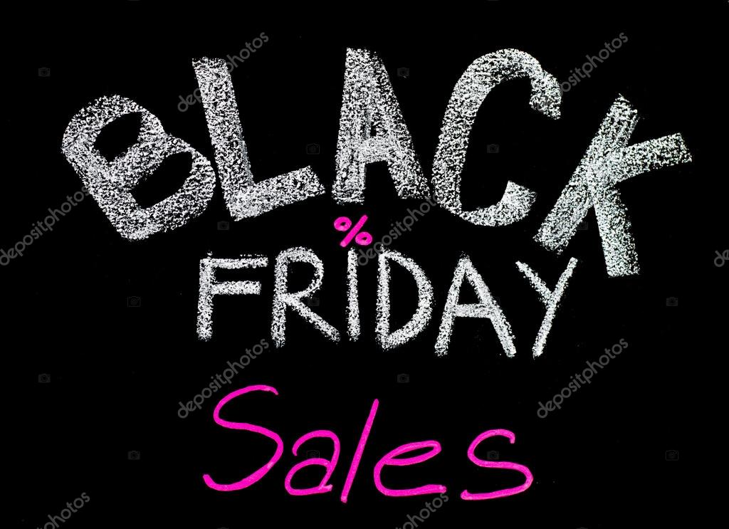 Black Friday sales advertisement handwritten with chalk on blackboard, Black Friday sale concept