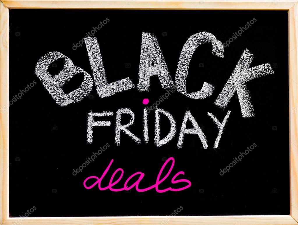 Black Friday deals advertisement handwritten with chalk on wooden frame blackboard, Black Friday sale concept