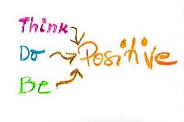 Think Positive, colorful hand writing on paper, positive thinking conceptual image