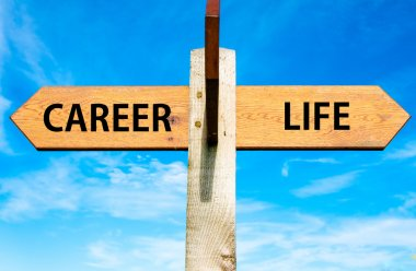 Wooden signpost with two opposite arrows over clear blue sky, Career and Life signs, Work Life Balance conceptual image