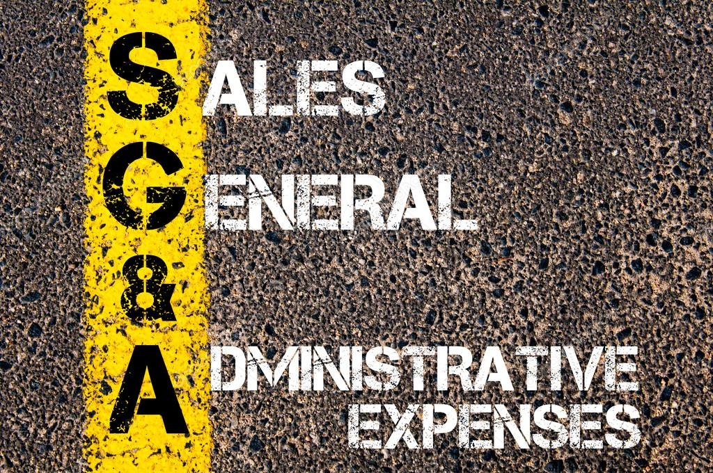 sga as sales general and administrative expenses stock photo