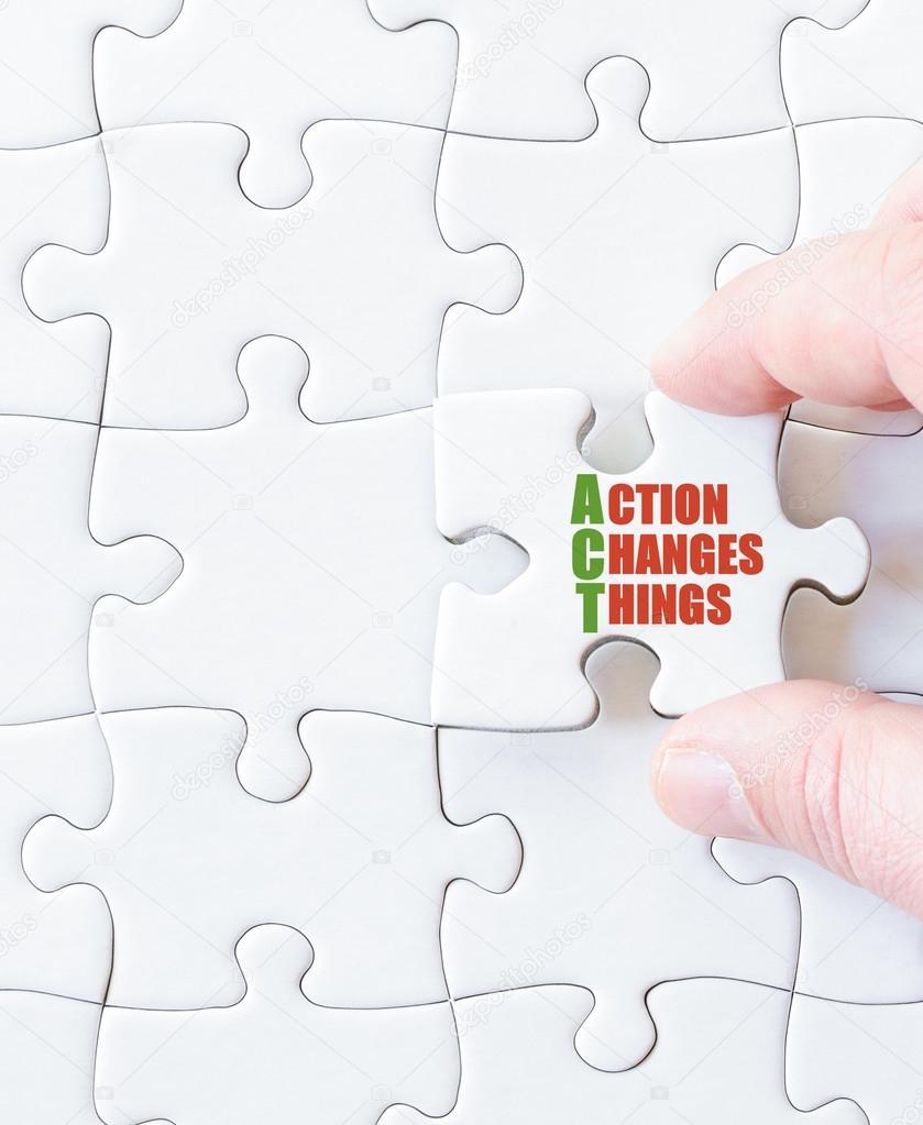 Puzzel Stuk Met Woorden Actie Wijzigingen Dingen Stockfoto