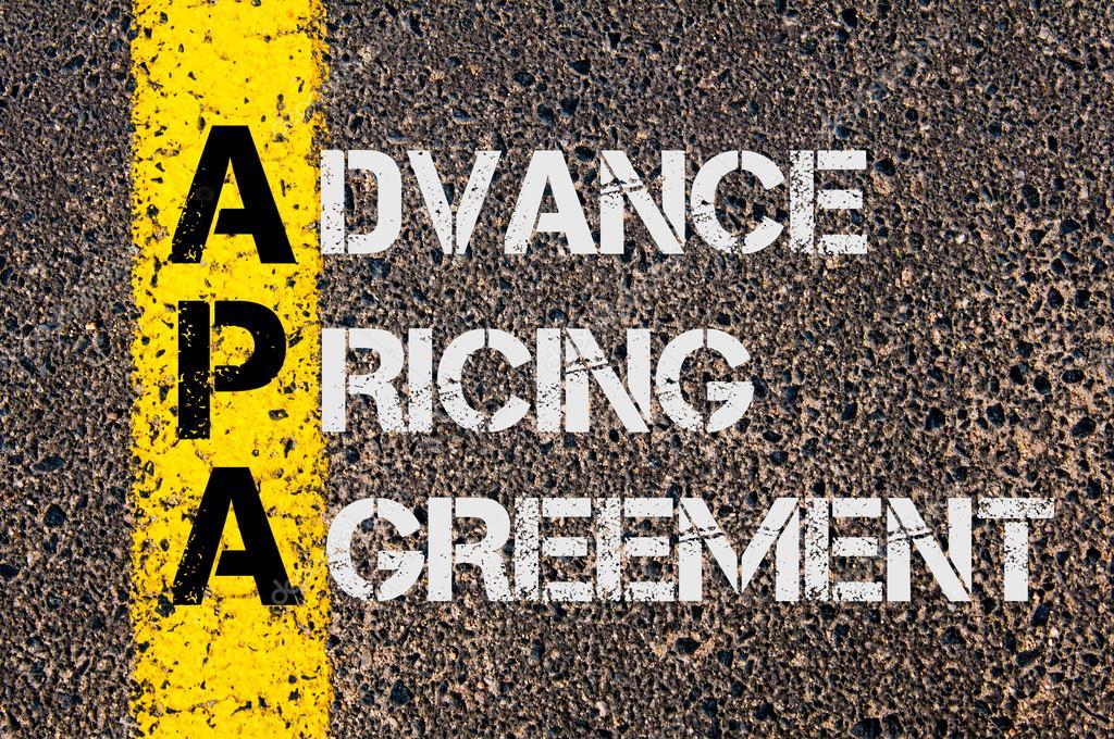 Business Acronym Apa As Advance Pricing Agreement Stock Photo