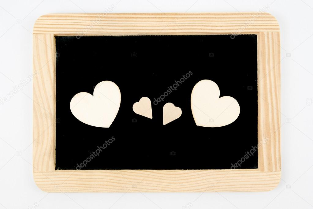 Vintage Tafel mit Holzrahmen, isoliert auf weiss, Handwerk Herz ...