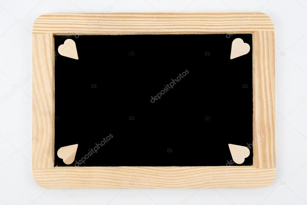 Vintage pizarra con marco de madera aislado en blanco, forma de ...