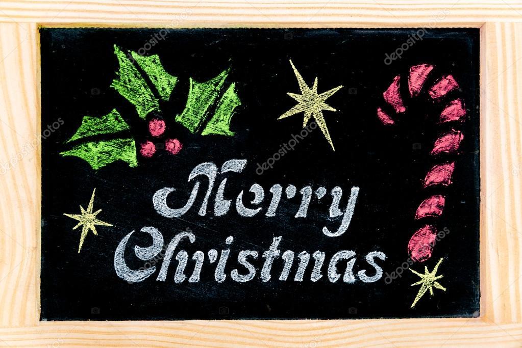 Holzgestell Jahrgang Tafel mit Merry Christmas Message und Hand ...