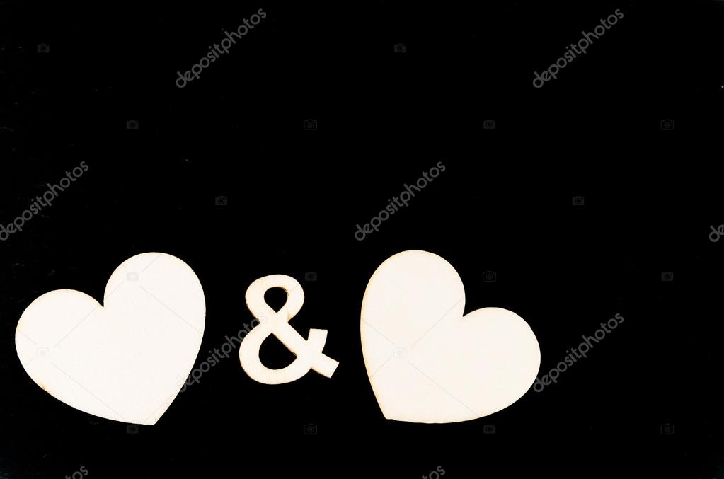 Pair Of Heart Shapes Symbols Isolated On Black Available Copy Space