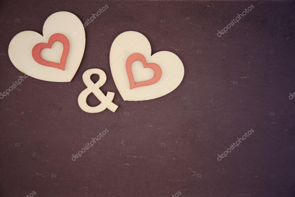 Pair Of Heart Shapes Symbols Over Vintage Chalkboard Retro Filter
