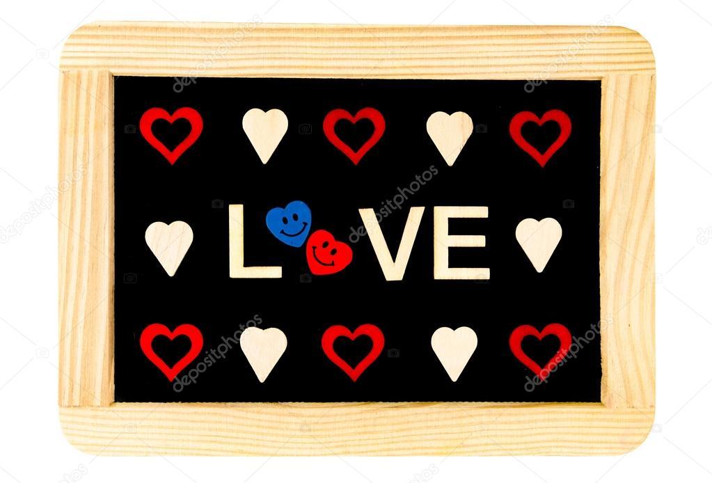 tableau noir cadre bois vintage isol sur blanc avec le mot amour cr de bois lettres et formes. Black Bedroom Furniture Sets. Home Design Ideas