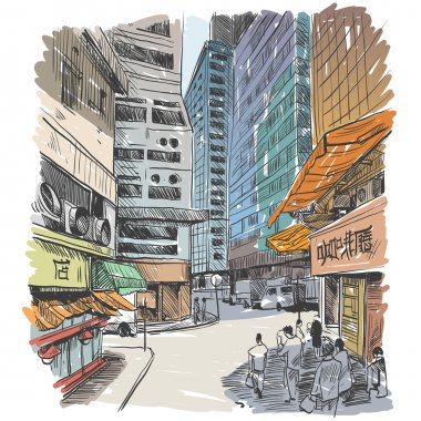 Hong Kong hand drawn